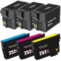Remanufactured Epson 252XL T252XL (6-pack) HY Ink Cartridges