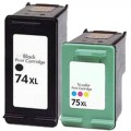 Replacement HP 74XL / 75XL (2-pack) Ink Cartridges