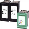 Replacement HP 74XL / 75XL (3-pack) Ink Cartridges