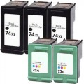 Replacement HP 74XL / 75XL (5-pack) Ink Cartridges