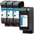 Replacement HP 15 / HP 23 (4-pack) Ink Cartridges