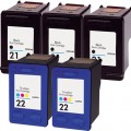 Replacement HP 21 / HP 22 (5-pack) Ink Cartridges