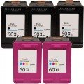 Replacement HP 60XL (5-pack) HY Ink Cartridges