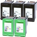 Replacement HP 94 / HP 97 (5-pack) Ink Cartridges