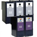Replacement Lexmark 32 / 33 (5-pack) Ink Cartridges