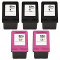 Replacement HP 62XL (5-pack) HY Ink Cartridges