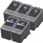 Canon PG-50 Black & CL-51 Color Replacement (5-pack) High Yield Ink Cartridges (3x Black, 2x Color)