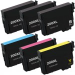 Epson 200XL T200XL Series (6-pack) Remanufactured High Yield Ink Cartridges (3x Black, 1x Cyan, 1x Magenta, 1x Yellow)