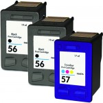 HP 56 / C6656AN Black & HP 57 / C6657AN Color (3-pack) Replacement Ink Cartridges (2x Black, 1x Color)