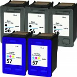 HP 56 / C6656AN Black & HP 57 / C6657AN Color (5-pack) Replacement Ink Cartridges (3x Black, 2x Color)