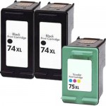 HP 74XL / CB336WN Black & HP 75XL / CB338WN Color (3-pack) Replacement High Yield Ink Cartridges (2x Black, 1x Color)