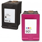 Replacement HP 901XL Ink Cartridges Combo Pack of 2 - CC654AN High Yield Black - CC656AN Color - (1x Black, 1x Color)