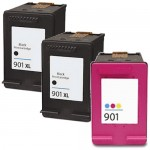Replacement HP 901XL Ink Cartridges Combo Pack of 3 - CC654AN High Yield Black - CC656AN Color - (2x Black, 1x Color)