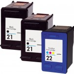 HP 21 / C9351AN Black & HP 22 / C9352AN Color (3-pack) Replacement Ink Cartridges (2x Black, 1x Color)