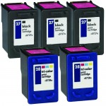 HP 27 / C8727AN Black & HP 28 / C8728AN Color (5-pack) Replacement Ink Cartridges (3x Black, 2x Color)