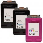 HP 60XL Combo Pack of 3 High Yield Replacement Ink Cartridges - CC641WN Black & CC644WN Color (2x Black, 1x Color)