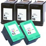 HP 98 / C9364WN Black & HP 93 / C9361WN Color (5-pack) Replacement Ink Cartridges (3x Black, 2x Color)