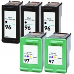 HP 96 / C8767WN Black & HP 97 / C9363WN Color (5-pack) Replacement Ink Cartridges (3x Black, 2x Color)