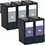Lexmark #14 / 18C2090 Black & Lexmark #15 / 18C2110 Color (5-pack) Replacement Ink Cartridges (3x Black, 2x Color)