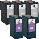 Lexmark 34 / 18C0034 Black & Lexmark 35 / 18C0035 Color (5-pack) Replacement Ink Cartridges (3x Black, 2x Color)