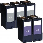 Lexmark 44XL / 18Y0144 Black & Lexmark 43XL / 18Y0143 Color (5-pack) High Yield Replacement Ink Cartridges (3x Black, 2x Color)