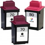 Lexmark 70 / 12A1970 Black & Lexmark 80 / 12A1980 Color (3-pack) Replacement Ink Cartridges (2x Black, 1x Color)