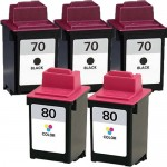 Lexmark 70 / 12A1970 Black & Lexmark 80 / 12A1980 Color (5-pack) Replacement Ink Cartridges (3x Black, 2x Color)