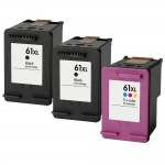 HP 61XL / CH563WN Black & HP 61XL / CH564WN Color (3-pack) Replacement High Yield Ink Cartridges (2x Black, 1x Color)