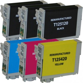 Epson 125 T125 Black & Color 6-pack Ink Cartridges