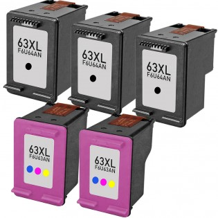 HP 63XL High Yield Black & Color 5-pack Ink Cartridges